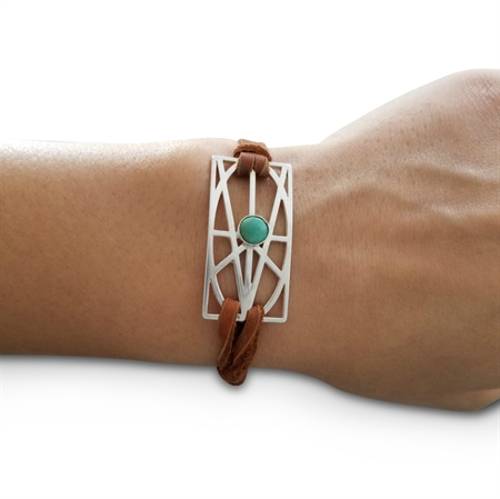 Picture of Brown Sterling Silver and Turquoise Wrap & Tuck Bracelet - Large Zymbol